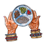 Indian food. hands and seasonings. isolated. watercolor Stock Photography