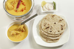 Indian Food: Kadhi with gatte and chapatti or roti. Stock Image