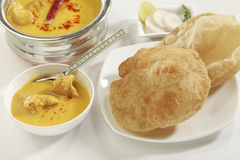 Indian Food: Kadhi with gatte and chapatti or roti. Royalty Free Stock Photography