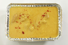 Indian Food- Kadhi with gatte in metal tray. Stock Photography