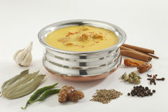 Indian Food- Kadhi with gatte in stainless steel pot with spices. Royalty Free Stock Images