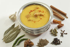 Indian Food- Kadhi with gatte in stainless steel pot with spices. Stock Photography