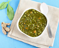 Indian Food Palak Curry. Palak curry, an Indian vegetarian food made from spinach, carrot and other items, is a healthy side dish for cuisines like chapati and Stock Image