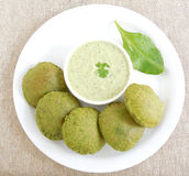Indian food palak or spinach poori Royalty Free Stock Image