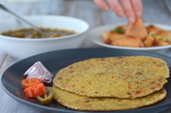 Indian food Paratha flatbread Indian cuisine Royalty Free Stock Images