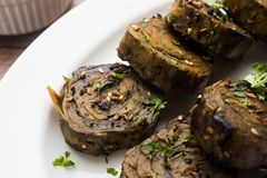Indian food Patra or Paatra or Alu Vadi Royalty Free Stock Photo