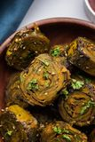 Indian food Patra or Paatra or Alu Vadi Stock Photo