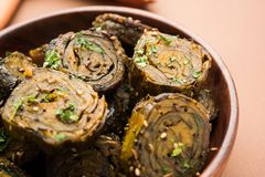 Indian food Patra or Paatra or Alu Vadi Stock Photography