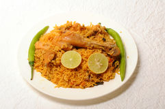 Indian food. Plate of chicken biriyani Royalty Free Stock Photo