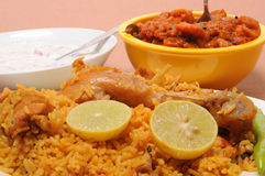 Indian food. Plate of chicken biriyani Royalty Free Stock Photography