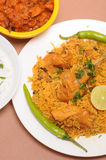 Indian food. Plate of chicken biriyani Royalty Free Stock Images