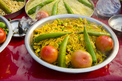 Indian food in plate and frankincence in market Royalty Free Stock Image