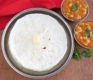 Indian Food Rice Roti Stock Photo