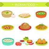Indian Food Signature Dishes Illustration Set Royalty Free Stock Photography