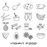 Indian food theme set of simple outline icons. Eps10 Stock Photography