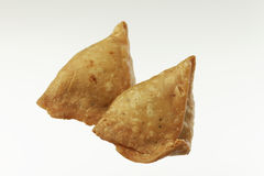 Indian Food:traditional indian spicy crispy fried Punjabi Samosa. Stock Photos