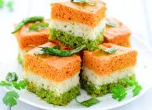 Indian Food Tricolour Dhokla Stock Photos