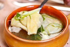 Indian food - Wonton soup Royalty Free Stock Photo