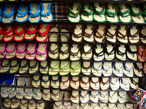 Indian Footwear. Osho's colorful footwear made of bamboo sticks and velvet specially made in pune,india Royalty Free Stock Photo