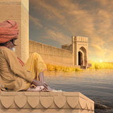 Indian fort. Holy man near indian fortification in the sunset Stock Image