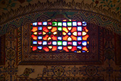 Indian fort window stained glass color Royalty Free Stock Image