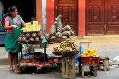 Indian från Bolivia som säljer frukter på stadsgator Arkivfoto