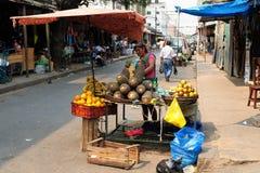 Indian från Bolivia som säljer frukter på stadsgator Fotografering för Bildbyråer