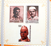 Indian freedom fighters commemorated in stamps. Indian postage stamps commemorating freedom fighters and political leaders released during World Philatelic Stock Images