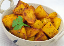 Indian Fried Potato. Indian vegetarian fried potato curry royalty free stock photography