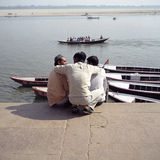 Indian Friends. On the Ghats at Varanasi, India Royalty Free Stock Photos