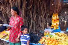 Indian fruits and vegetables stall royalty free stock images