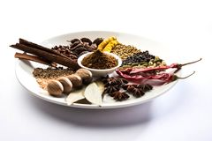 Indian Garam Masala powder / Indian spice mix. Colourful spices for Garam Masala. Food ingredients for garam masala, indian spice mix with Powder. Selective Royalty Free Stock Images