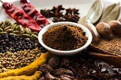 Indian Garam Masala powder / Indian spice mix. Colourful spices for Garam Masala. Food ingredients for garam masala, indian spice mix with Powder. Selective Royalty Free Stock Image