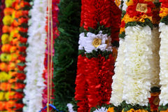 Indian Garland. Strings of Indian Flower Garland on display. In the Indian culture, a symbol of spirituality, marriage, and honor Stock Photos