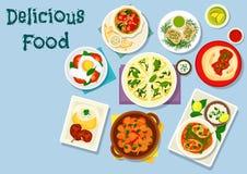 Indian and georgian cuisine dinner dishes icon. Indian and georgian cuisine icon of fish curry with rice, beef tomato soup, tomato chutney on flatbread, potato Stock Image