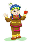 Indian girl. The red indian girl cartoon Royalty Free Stock Image