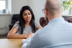 Indian girl attending job interview.  royalty free stock photo