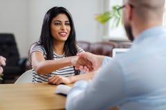 Indian girl attending job interview.  stock photo