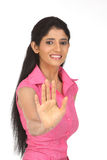 Indian girl in avoiding action Royalty Free Stock Photography