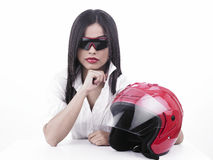 Indian girl biker Royalty Free Stock Image