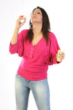 Indian  girl blowing bubbles Royalty Free Stock Images