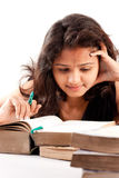 Indian Girl and Books Stock Photos
