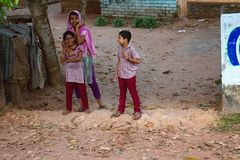 Indian girl in casual clothes with his sister and brother stock photos
