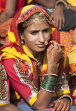 Indian girl in colorful ethnic attire Royalty Free Stock Photos