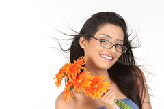 Indian girl with  daisy flowers Royalty Free Stock Images