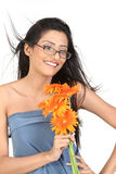 Indian girl with  daisy flowers Royalty Free Stock Photo