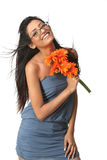 Indian girl with  daisy flowers Royalty Free Stock Image