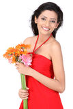 Indian girl with  daisy flowers Stock Photography
