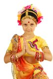 Indian girl (dancer) in inviting posture Royalty Free Stock Photos