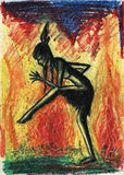 Indian girl dancing in front of fire. Ritual dancer. Pastel drawing Royalty Free Stock Images